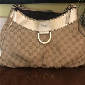 Authentic Gucci GG CANVAS D-GOLD HOBO BAG